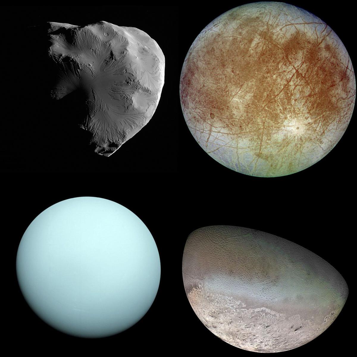Helene, Europa, Urano e Tritone