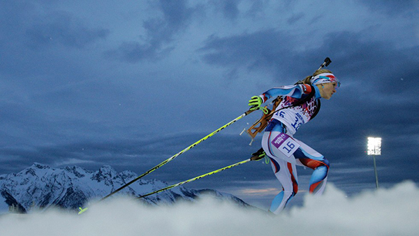 Gabriela Soukalova nel biathlon a Sochi 2014