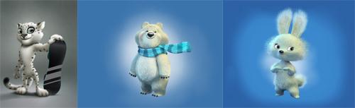 Le tre mascotte di Sochi 2014: il leopardo delle neve, l'orso polare e il coniglio bianco