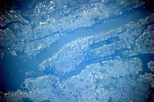 L'isola di Manhattan a New York vista dallo spazio