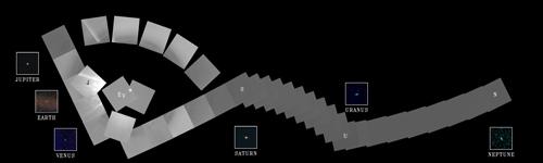 Il Solar System Family Portrait ripreso dalla sonda MESSENGER