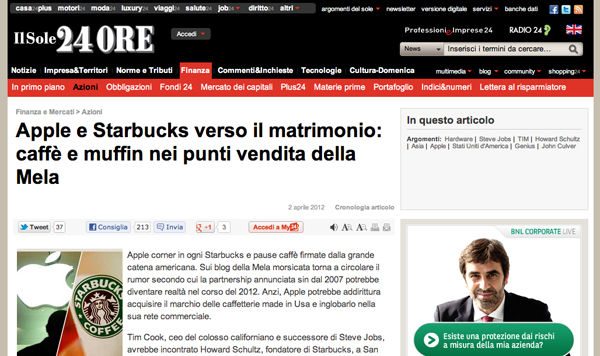 Screenshot de Il Sole 24 Ore