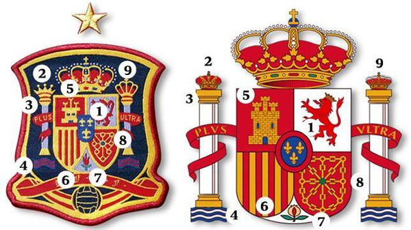 Lo stemma sbagliato sulle maglie della Spagna