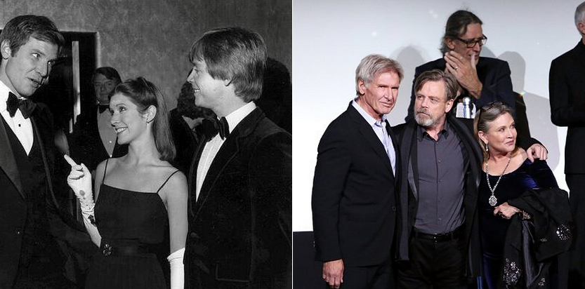Harrison Ford Mark Hamill e Carry Fisher nel 1979 e nel 2015