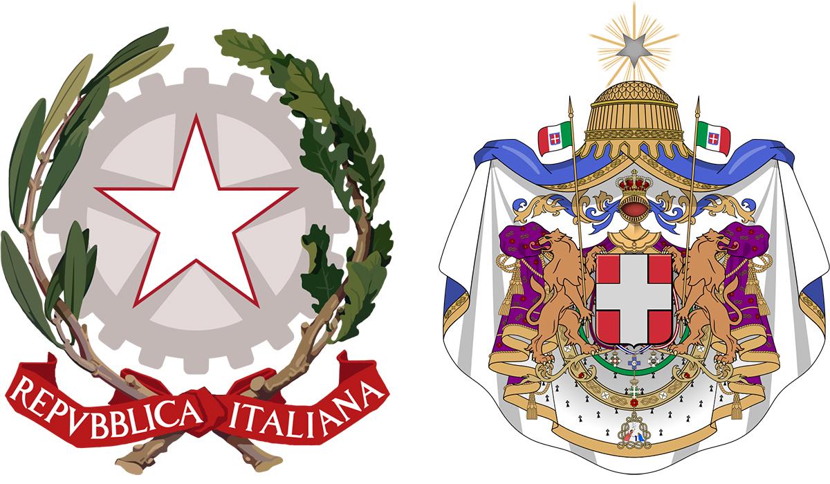 La Stella d'Italia nell'emblea della Repubblica e nello stemma del Regno d'Italia