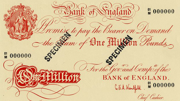 Una banconota da 1 milione di sterline