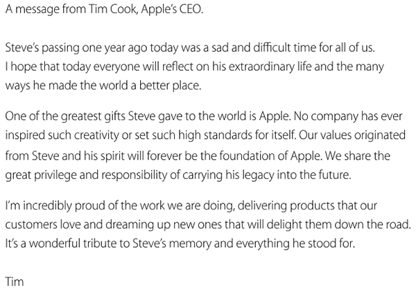 La Lettera di Cook in ricordo di Steve Jobs