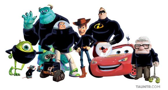 I personaggi Pixar vestiti come Steve Jobs
