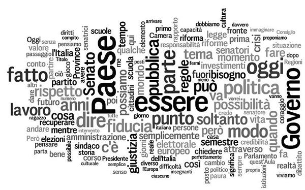 La tag cloud del discorso di Matteo Renzi al Senato