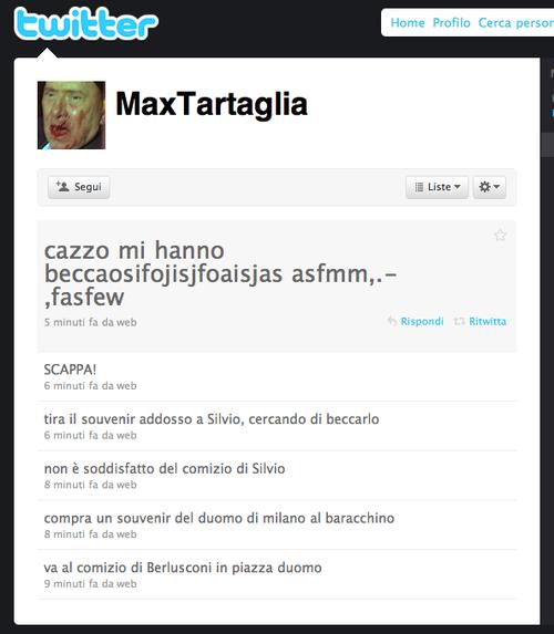 L'account fake su Twitter di Massimo Tartaglia