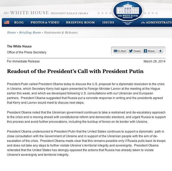 Il comunicato della Casa Bianca sulla telefonata tra Putin e Obama