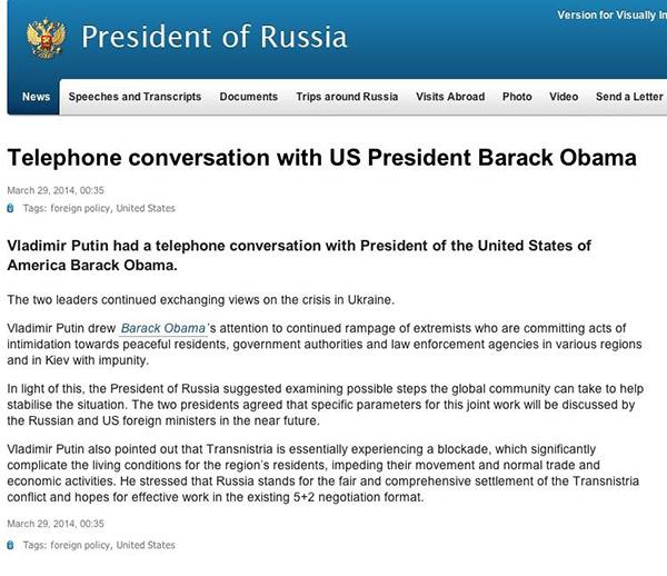 Il comunicato del Cremlino sulla telefonata tra Putin e Obama