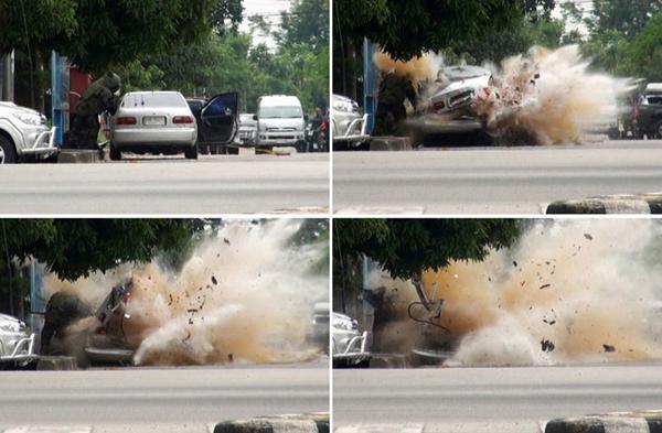 La sequenza dell'esplosione di un'autobomba in Thailandia
