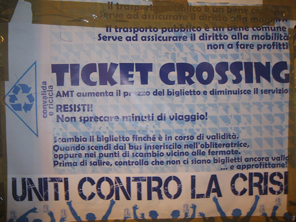 Manifesto che invita al ticket crossing a Genova