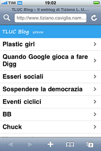 Lo screenshot del TLUC Blog su iPhone