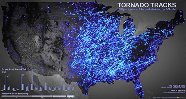La mappa dei tornado dal 1950 al 2011