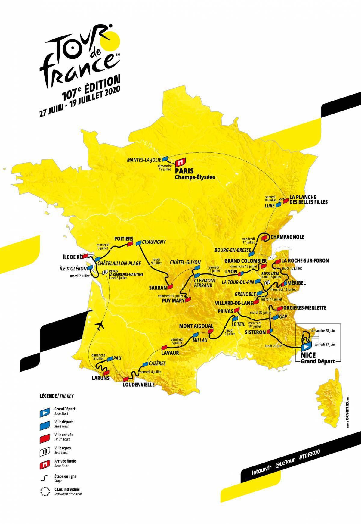 Il percorso del Tour de France 2020