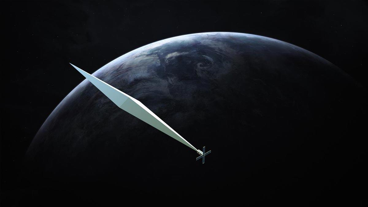 Il rendering del satellite opera d'arte spaziale di Trevor Paglen