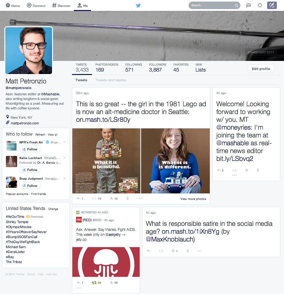 Il nuovo design di Twitter a febbraio 2014