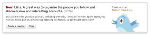 L'avviso per la nuova funzionalità liste di Twitter