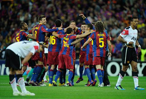 Il Barcellona festeggia la vittoria in Champions League