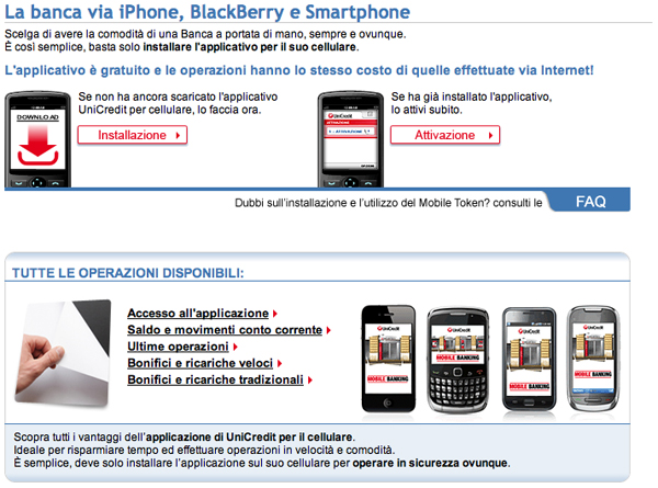 Screenshot di Unicredit