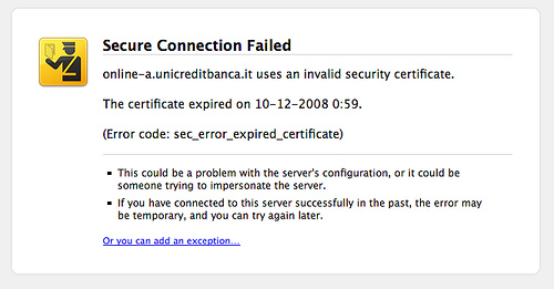 UniCredit lets expire its SSL certificate