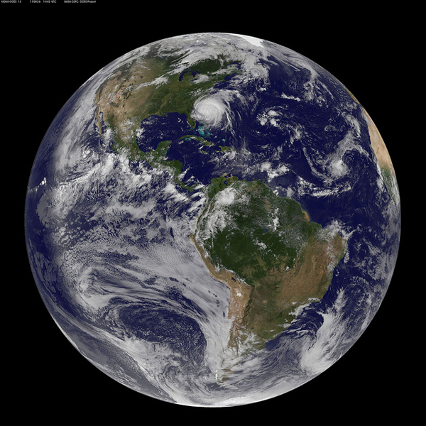 Immagine satellitare dell'uragano Irene