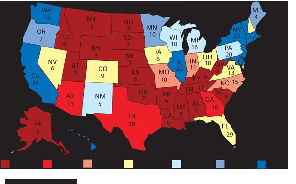 La mappa con la previsione dei grandi elettori per il 2012