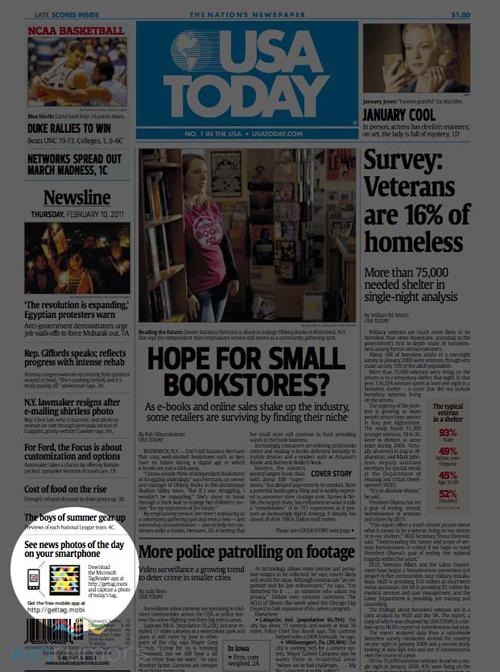 La pagina di USA Today che utilizza Microsoft Tag