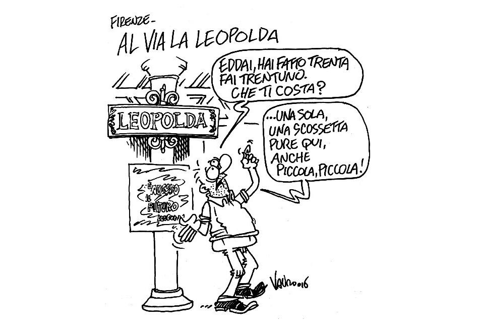 Vignetta di Vauro sul terremoto e la Leopolda