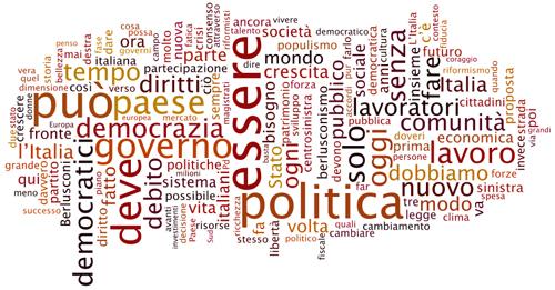 La tag cloud del discorso di Veltroni al Lingotto
