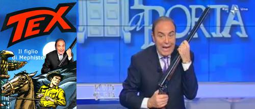 Screenshot della trasmissione di Porta a Porta sulla caccia e l'mmagine ritoccata di Vespa con in mano il fucile