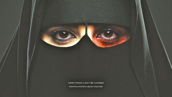 Poster saudita contro la violenza domestica