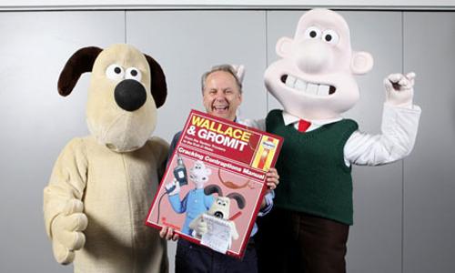 Nick Park con Wallace e Gromit e il libro in uscita
