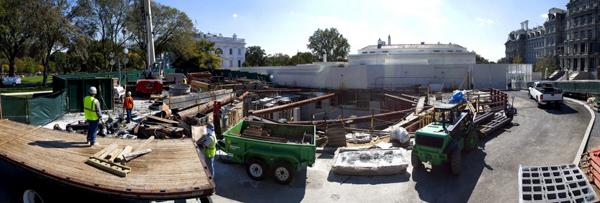 I lavori nei giardini della White House