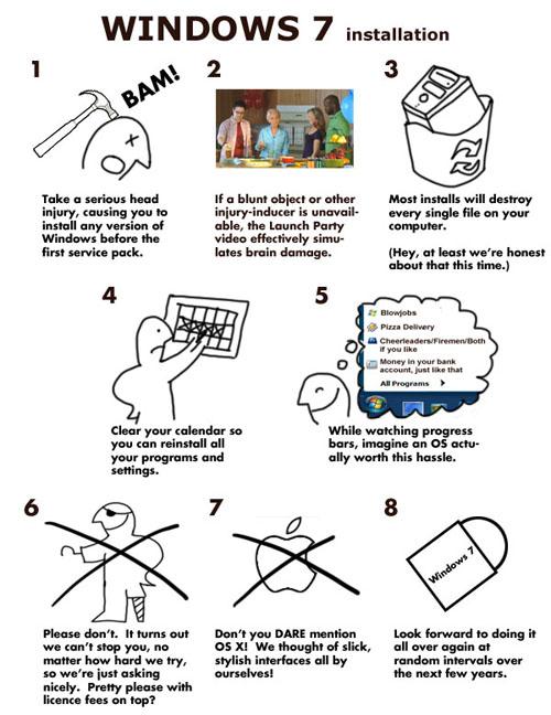 Le istruzioni per installare Windows 7