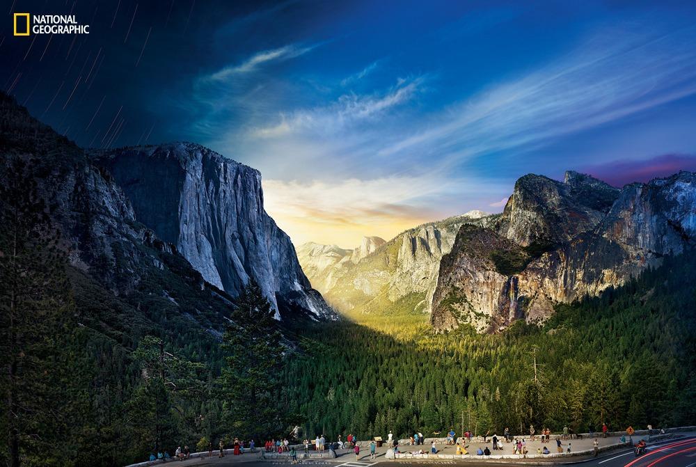 Yosemite dal giorno alla notte in un'unica foto